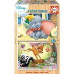 Educa Borrás-2X16 Bois Disney Animals-Bambi + Dumbo Puzzle, 18079, varié