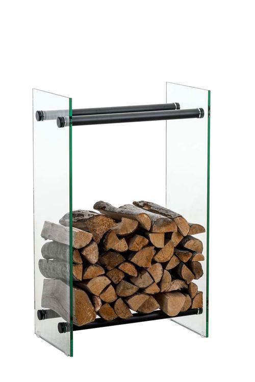 Porte-bûches Dacio verre clair , 35x80x80 cm/Verre clair