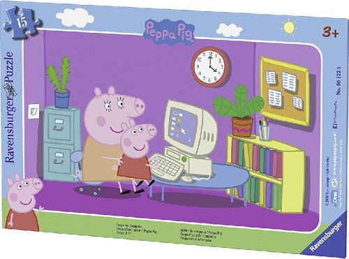 Puzzle enfant avec cadre 15 pieces - peppa pig et maman pig jouent sur l'ordinatuer - ravensburger