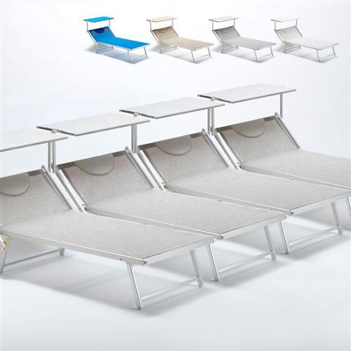 Beach and Garden Design - 4 Bain de soleil transat taille maxi professionnels aluminium lits de plage GRANDE Italia Extralarge, Couleur: Gris