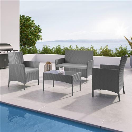 IMS Garden - IMORA - Salon de jardin résine tressée Gris - ensemble 4 places - Canapé + Fauteuil + Table