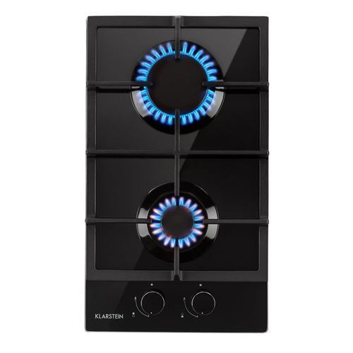 Klarstein Ignito Domino Table de cuisson gaz - plaque 2 foyers ( 3 + 1 kW ) - revêtement vitrocéramique - noir