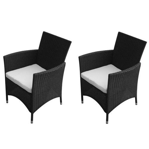 Chaises de jardin 2 pcs Résine tressée Noir