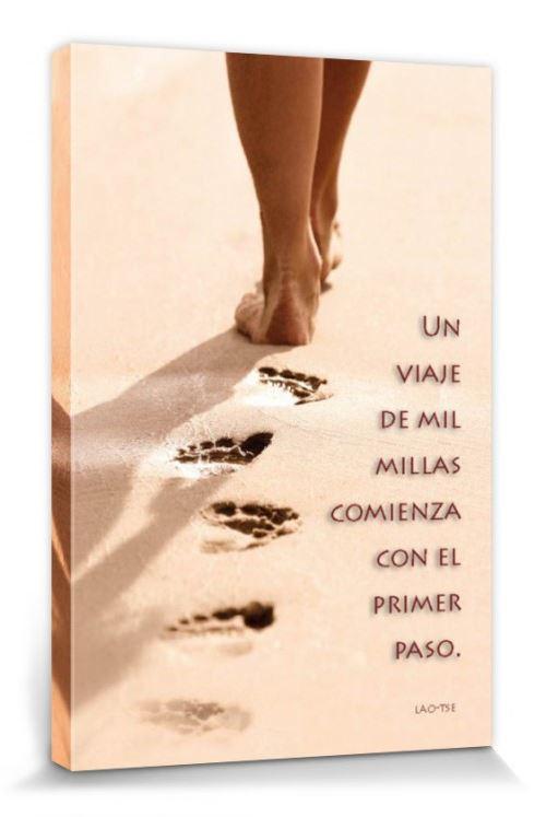 Motivation Poster Reproduction Sur Toile, Tendue Sur Châssis - Un Viaje De Mil Millas Comienza Con El Primer Paso (30x20 cm)