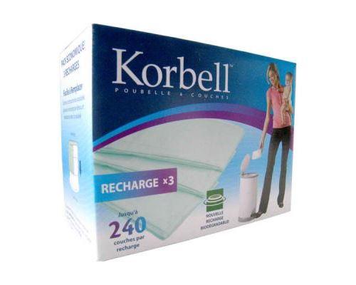Recharges à couches x3 pour poubelle 15l korbell