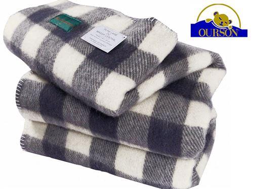 Couverture laine bio ourson 400 gr carreaux gris 220x240