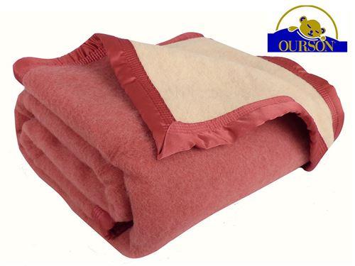 Couverture pure laine woolmark ourson 600 gr rose 240x260