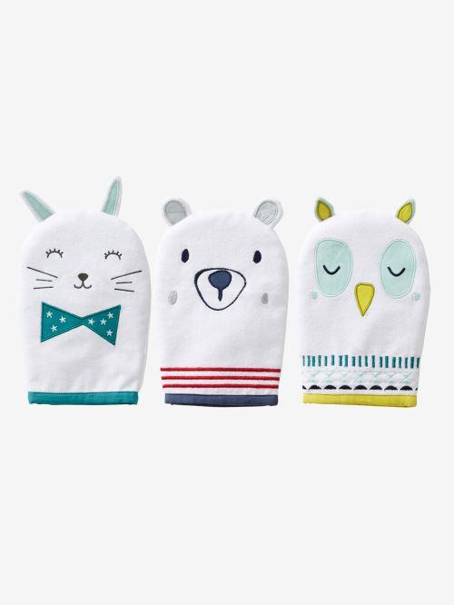 VERTBAUDET - Lot de 3 gants de toilette animaux - écru - TU