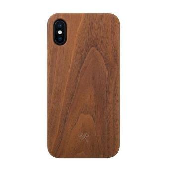 Coque pour iPhone X Xs en Bois Veritable Noyer Noir Woodceories EcoCase Claic
