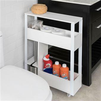 SoBuy® FRG270-W Meuble de Rangement Salle de Bain Support Papier Toilette  Meuble WC pour Papier Toilette Porte Brosse WC