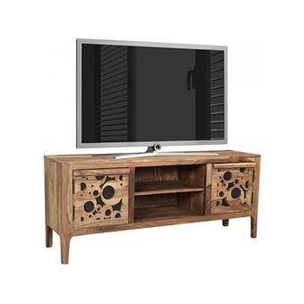 Meuble Tv Rustique Avec 2 Portes En Bois Massif Sheesham Et Mdf 120