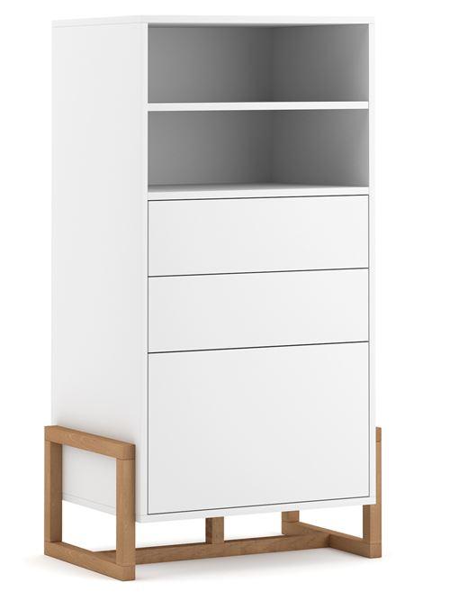 Commode haute en bois coloris blanc mat - L.63 x P.42 x H.115 cm -PEGANE-