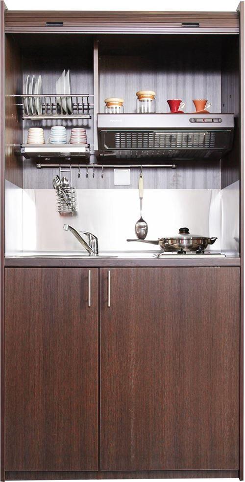 Brandy Best STUDI105-GWE Cuisine compacte wegge tout-en-un 105cm avec volet roulant evier à gauche