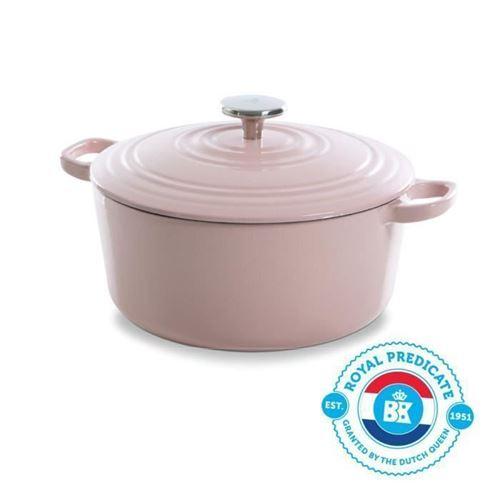 Bk Cookware H6078.528 Bk Bourgogne Cocotte En Fonte - Ronde - 28 Cm - 6.7l - Revetement Emaille - Couvercle Avec Anneaux