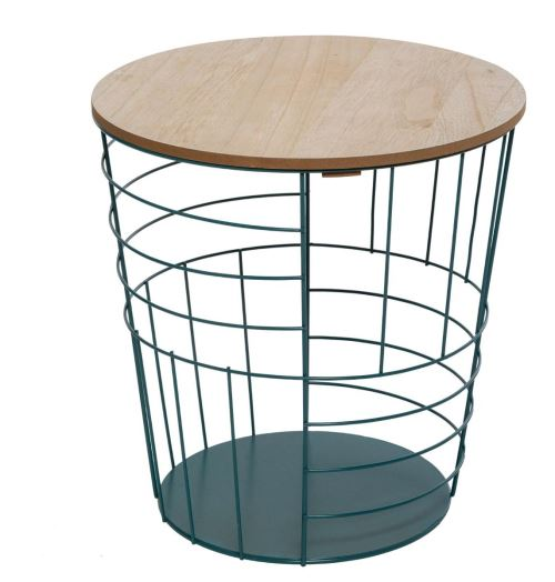 Table à café métallique coloris bleu - L. 36,5 x l. 36,5 x H. 38 cm -PEGANE-