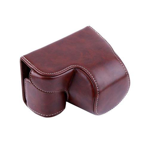 Sacoche en cuir PU pour appareil photo Sony A6000 et objectif de caméra 16-50 mm (café)