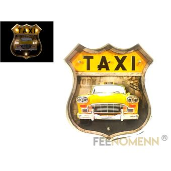 plaque m tal lumineuse led d co murale vintage ecusson taxi jaune new york 46x42cm achat. Black Bedroom Furniture Sets. Home Design Ideas