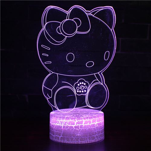 Lampe 3D Tactile Veilleuses Enfant 7 Couleurs avec Telecommande - Hello Kitty #589