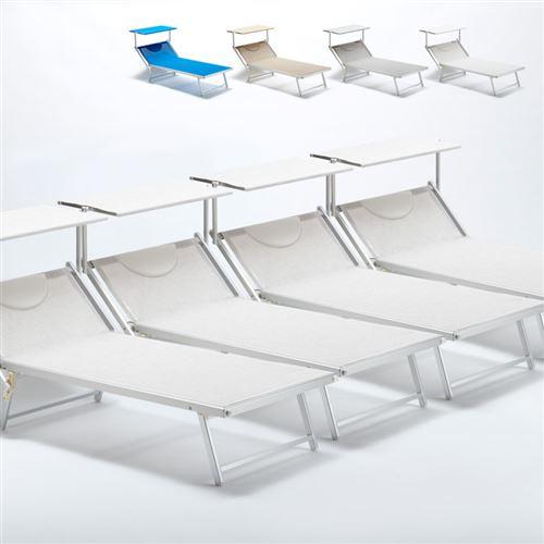 Beach and Garden Design - 4 Bain de soleil transat taille maxi professionnels aluminium lits de plage GRANDE Italia Extralarge, Couleur: Blanc