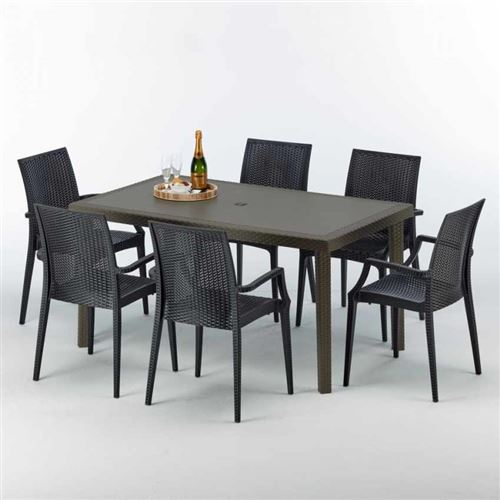 Table rectangulaire 6 chaises Poly rotin resine 150x90 marron Focus, Chaises Modèle: Bistrot Arm Anthracite noir