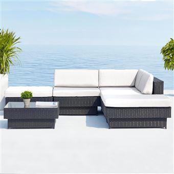 Amorgos : salon de jardin d\'angle en résine 4 fils tressée noire ...