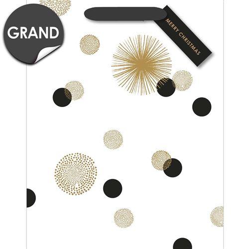 Draeger la carterie Sac cadeau grand format blanc � pois noirs et or Multicolore