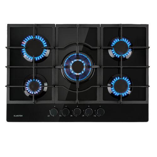 Klarstein Ignito 5 Table de cuisson gaz - Plaque 5 foyers ( 3,6 + 3 + 1 + 2x 1,75 kW ) - revêtement vitrocéramique - noir