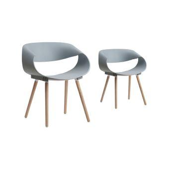 lot de 2 chaises scandinaves robin avec coque plastique et pieds en bois couleur gris achat prix fnac - Chaises Scandinaves Couleur