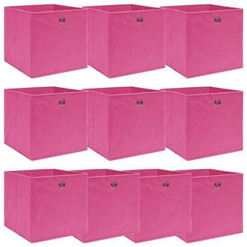 vidaXL Boîtes de rangement 10 pcs Rose 32x32x32 cm Tissu