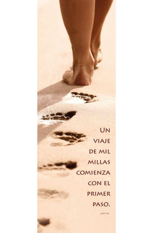 Motivation Poster Reproduction Sur Toile, Tendue Sur Châssis - Un Viaje De Mil Millas Comienza Con El Primer Paso (120x40 cm)
