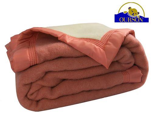 Couverture pure laine woolmark ourson 600 gr pêche 240x260