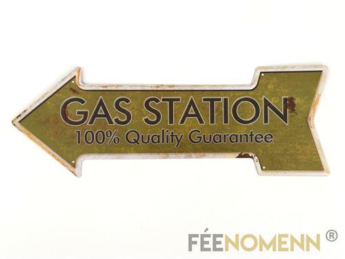 plaque métal déco vintage - forme flèche - gas station service (16x45cm)