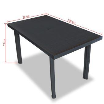 KKmoon Table de Jardin   Table d\'extérieur en Plastique 126 x 76 x 72 cm  Anthracite