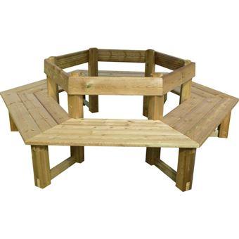 Banc tour d 39 arbre en bois avec dossier mobilier de jardin achat prix fnac - Banc en bois avec dossier ...