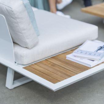 Salon détente 5 places teck et alu blanc Arès - Mobilier de Jardin ...