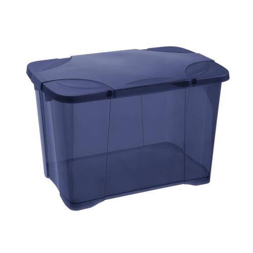 eda plastique boîte de rangement clip'box 60 l avec roulette - bleu couvercle avec charniere - 60 x 40 x 40,7 cm