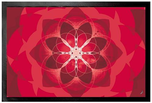 Mandalas Paillasson Essuie-Pieds - Rouge, Force Énergie, Amour Et Passion (60x40 cm)