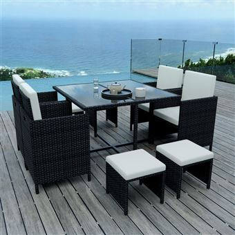 57% sur 8 Places - Ensemble encastrable salon / table de jardin ...
