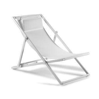 Transat en aluminium blanc et textilène blanc Santiago - Mobilier de ...