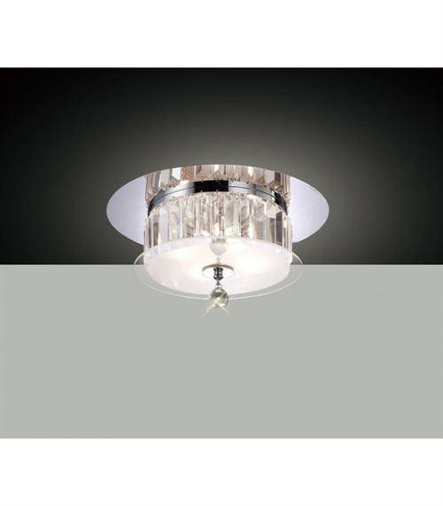 Plafonnier Tosca rond 4 Ampoules chrome poli/verre/cristal