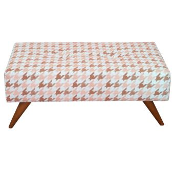 Banc Pouf Assise Tissus Scandinave Pied Bois Ultrasofa Rose