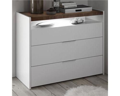 Commode blanche et couleur noyer foncé DELFINO - L 50 x P 40 x H 40 cm