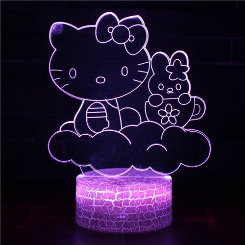 Lampe 3D Tactile Veilleuses Enfant 7 Couleurs avec Telecommande - Hello Kitty #591