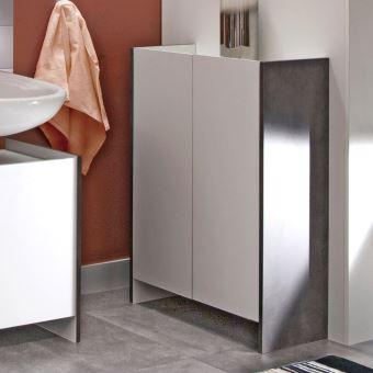 meuble de salle de bain 2 portes effet b ton fa ades blanches achat prix fnac. Black Bedroom Furniture Sets. Home Design Ideas