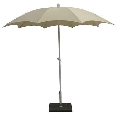 Parasol centré en polyester coloris Ecru - Dim : Ø 200/10 x H 250 cm