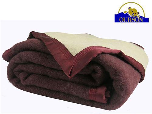 Couverture pure laine woolmark ourson 600 gr prune 240x260