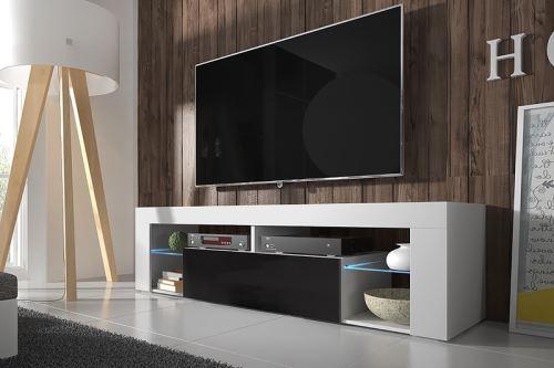 HUGO meuble TV – blanc mat / noir brillant avec LED