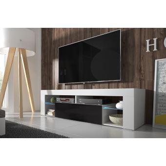 Hugo meuble tv blanc mat noir brillant avec led achat prix fnac - Meuble tv noir mat ...