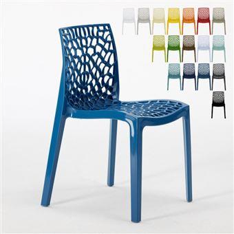 Chaise en polypropylène empilable salle à manger bar café GRUVYER nid d'abeille Grand Soleil, Couleur: Bleu