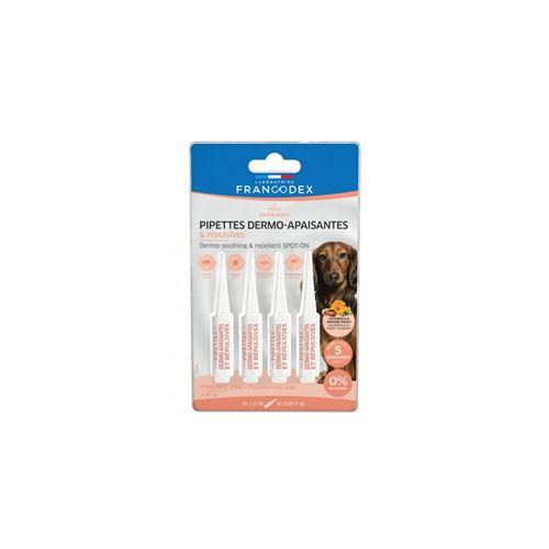 4 Pipettes Dermo-Apaisantes et Repulsives Pour Chiots et Petits Chiens de 2 kg à 10 kg